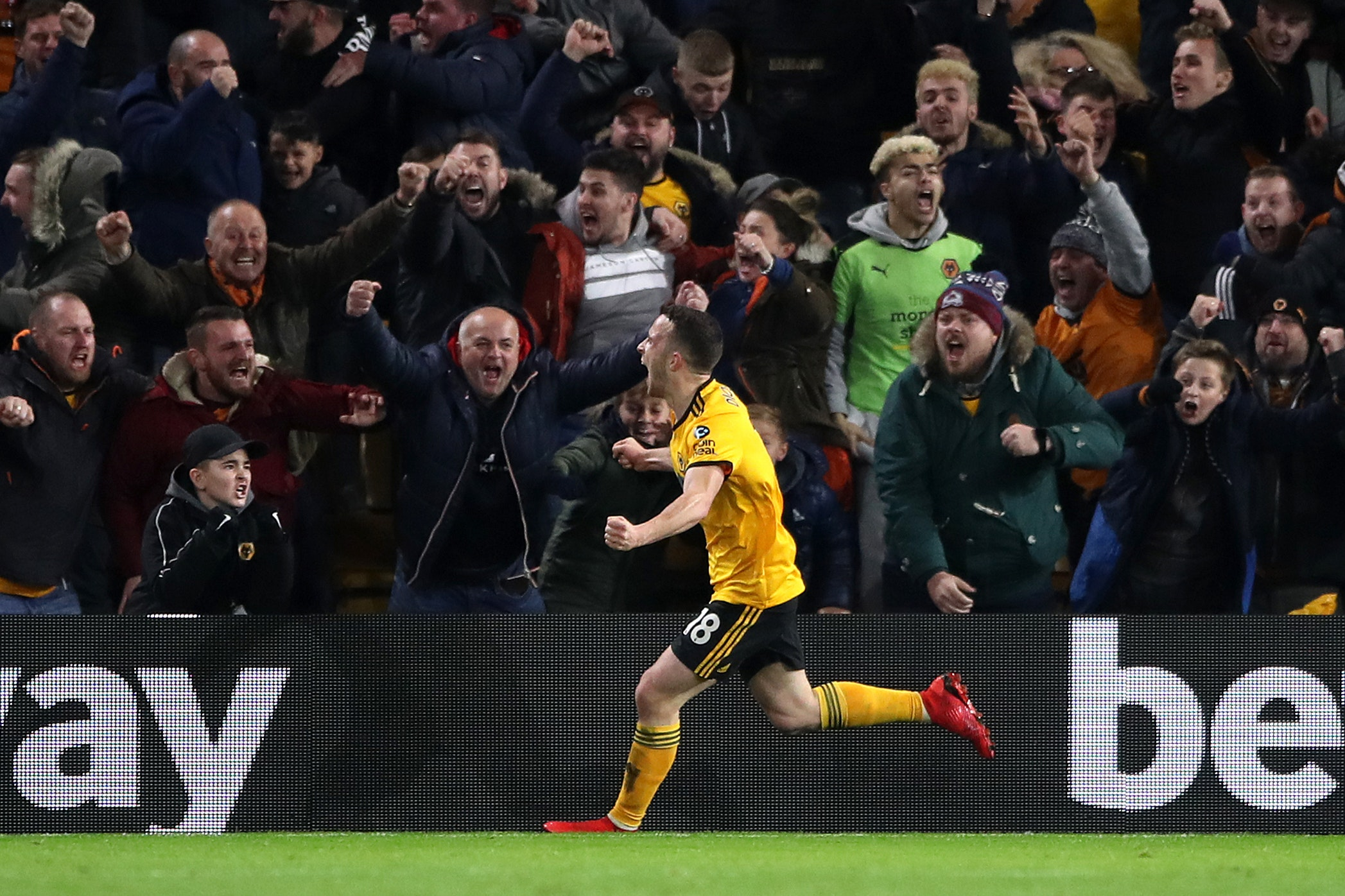 Wolves' Diogo Jota celebrates his winner against Chelsea