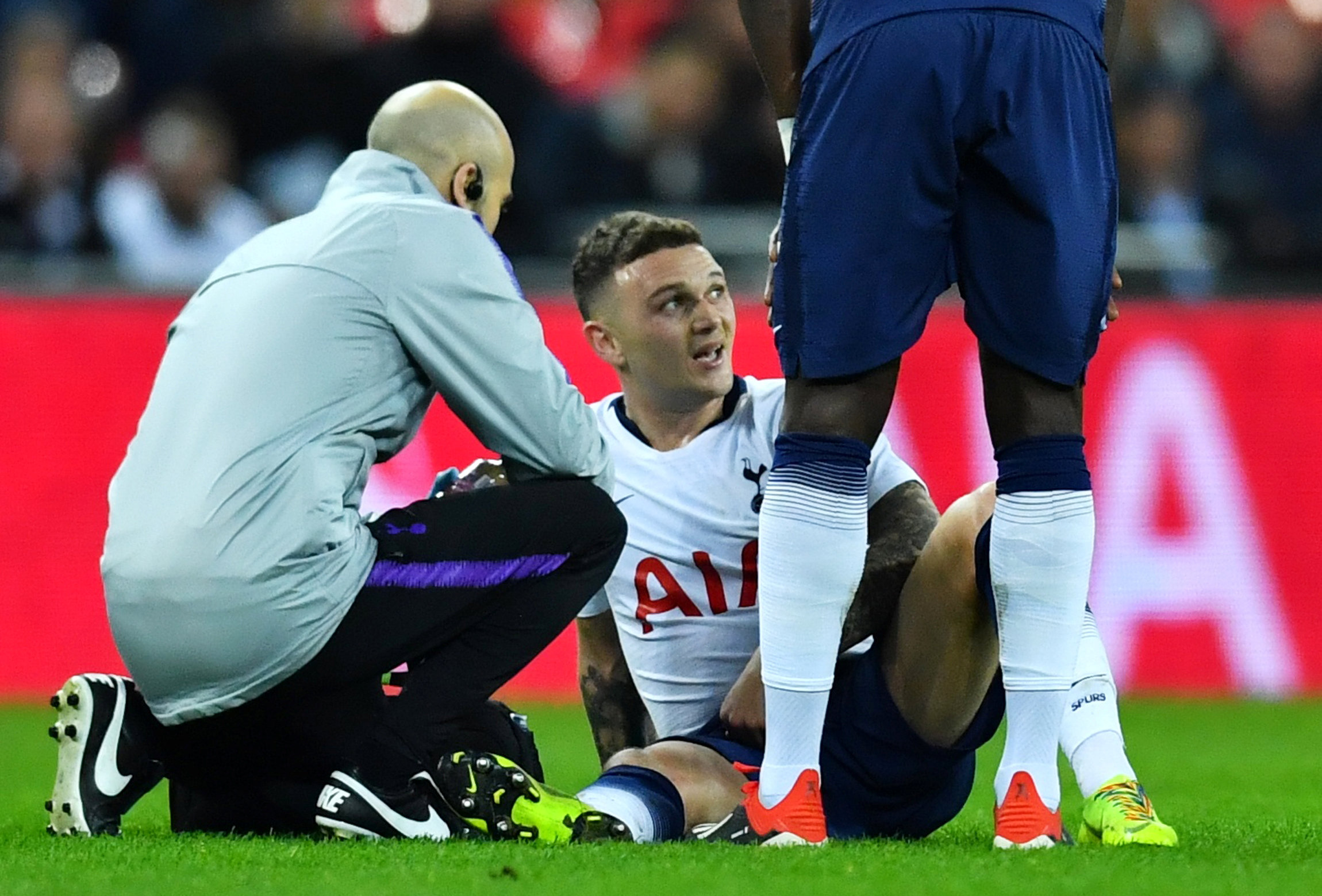 Kieran Trippier limped off injured on his return last night. Picture: Action Images