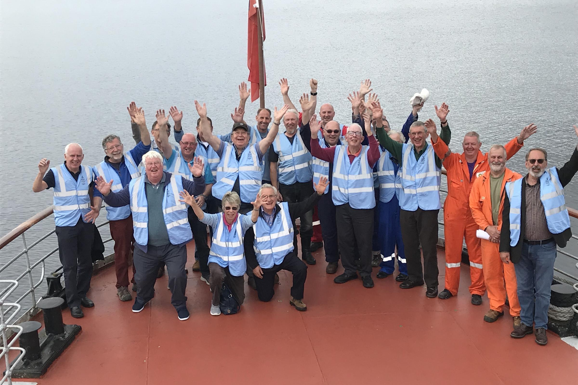 Maid of the Loch volunteers celebrate the funding award