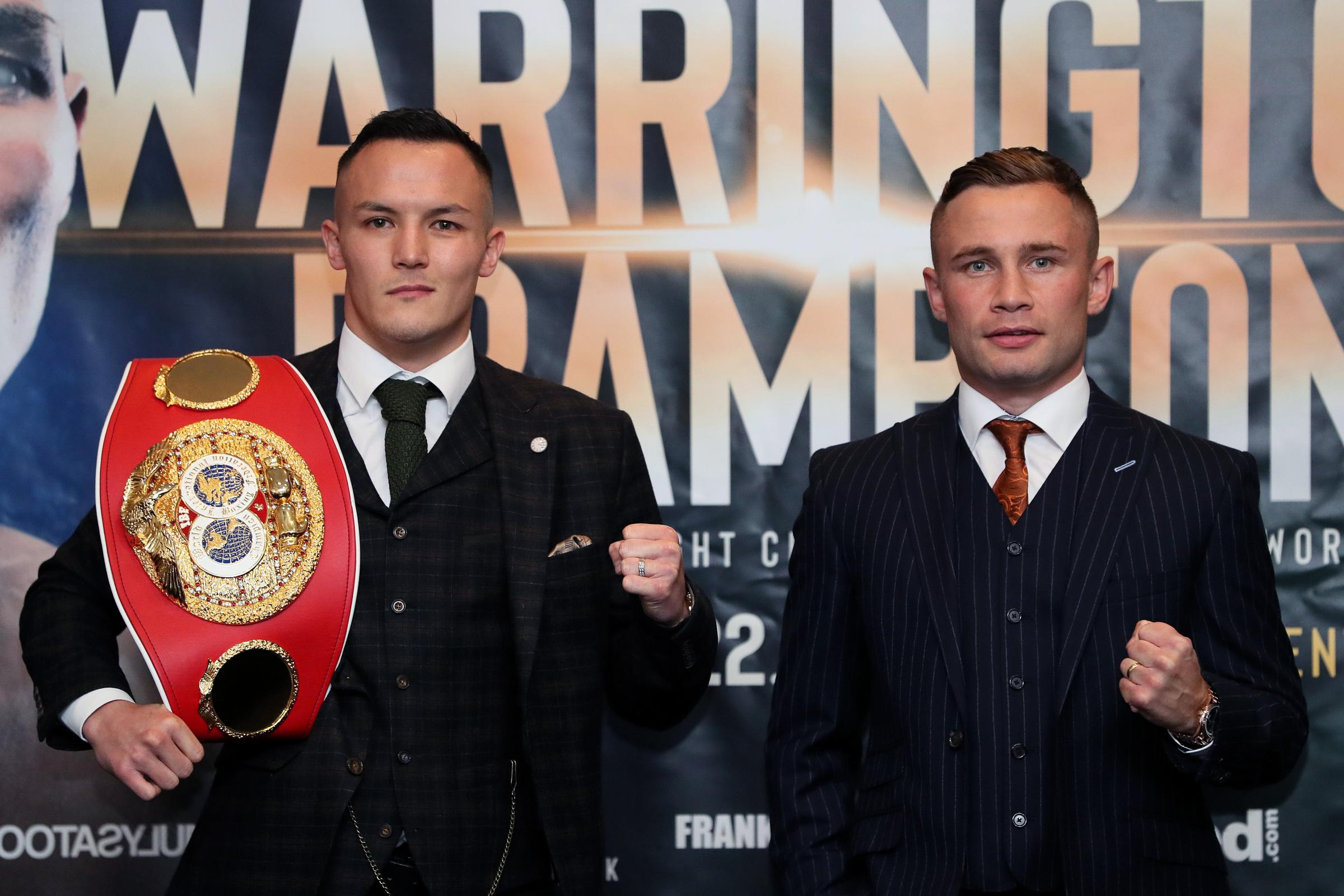 Josh Warrington, left, will defend his world title for the first time when he takes on Carl Frampton, right