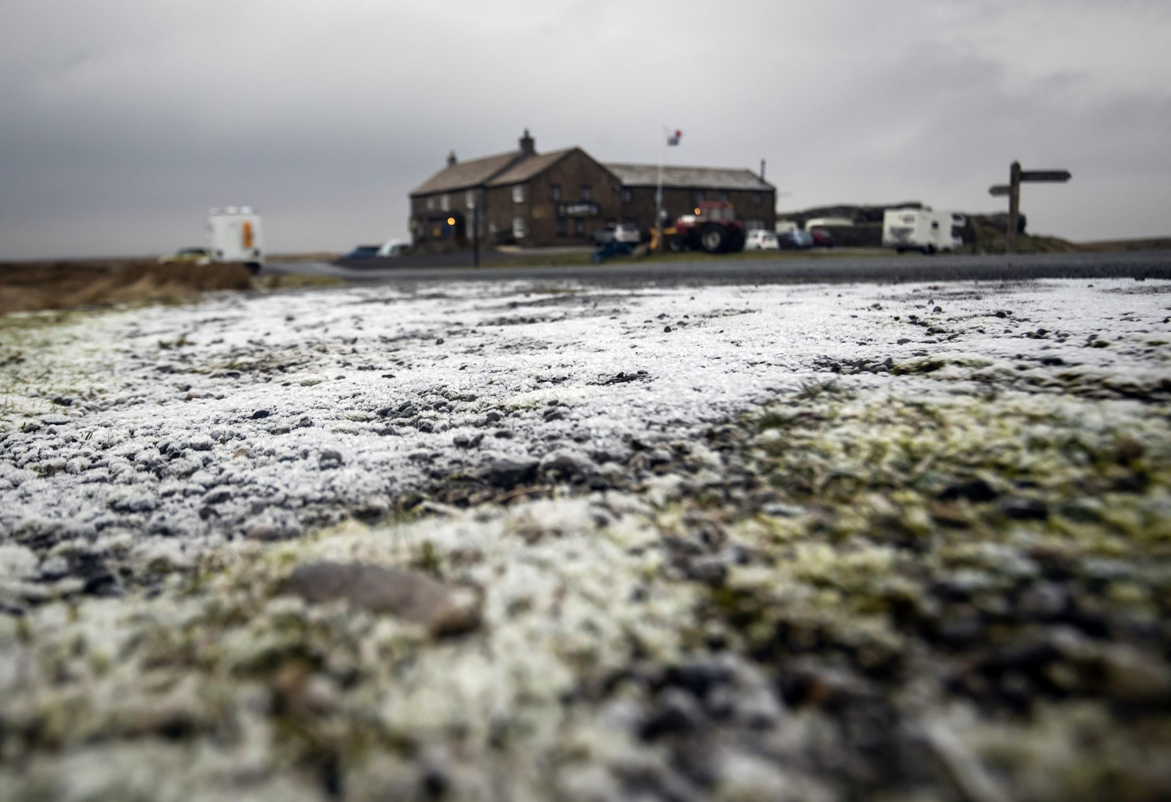 Ground frost near the Tan Hill Inn in the Yorkshire Dales as amber warnings alerting people to heavy snow and ice have been issued for the north of England and Midlands. Picture: PA