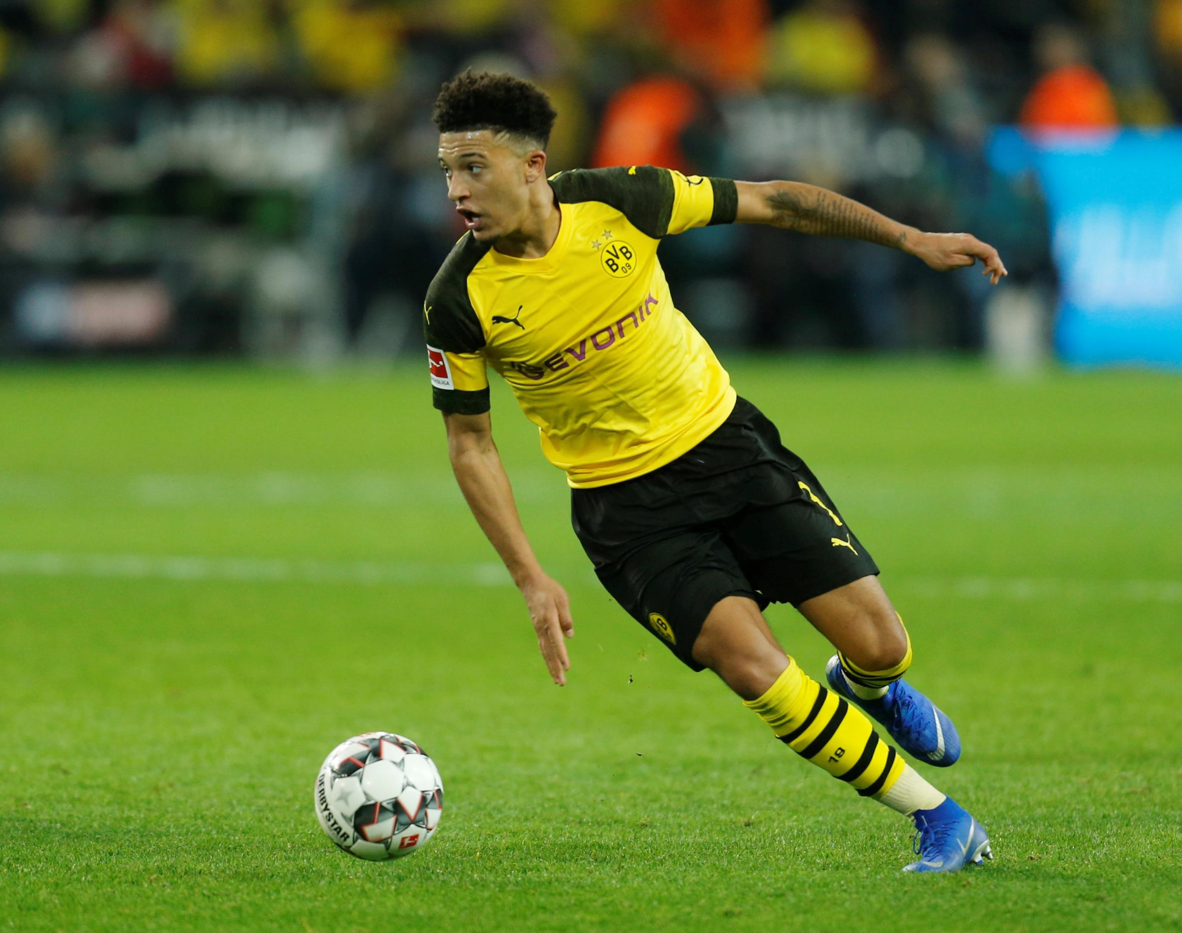 Jadon Sancho is set to come up against some of his England squad mates in the tie. Picture: Action Images