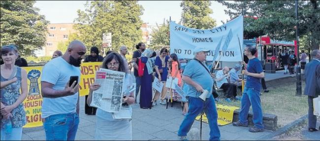 Residents of Broadwater Farm protested against demolition plans