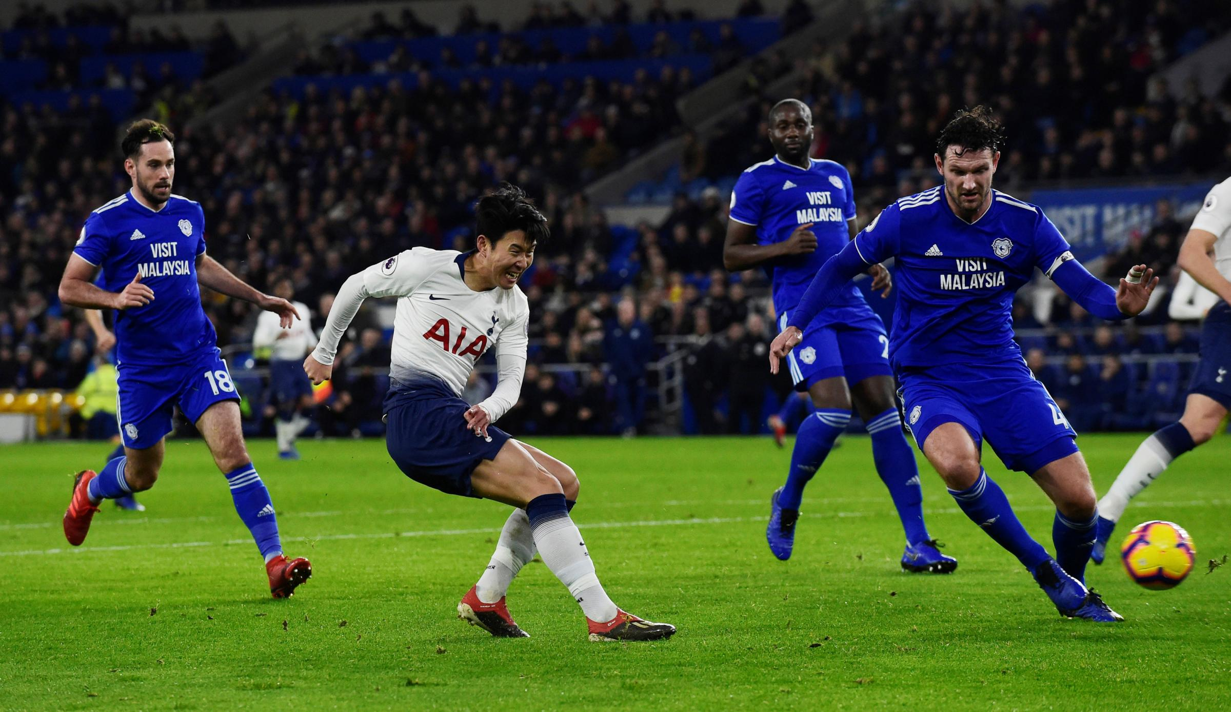 Job done: Son Heung-min scores Spurs' third goal. Picture: Action Images
