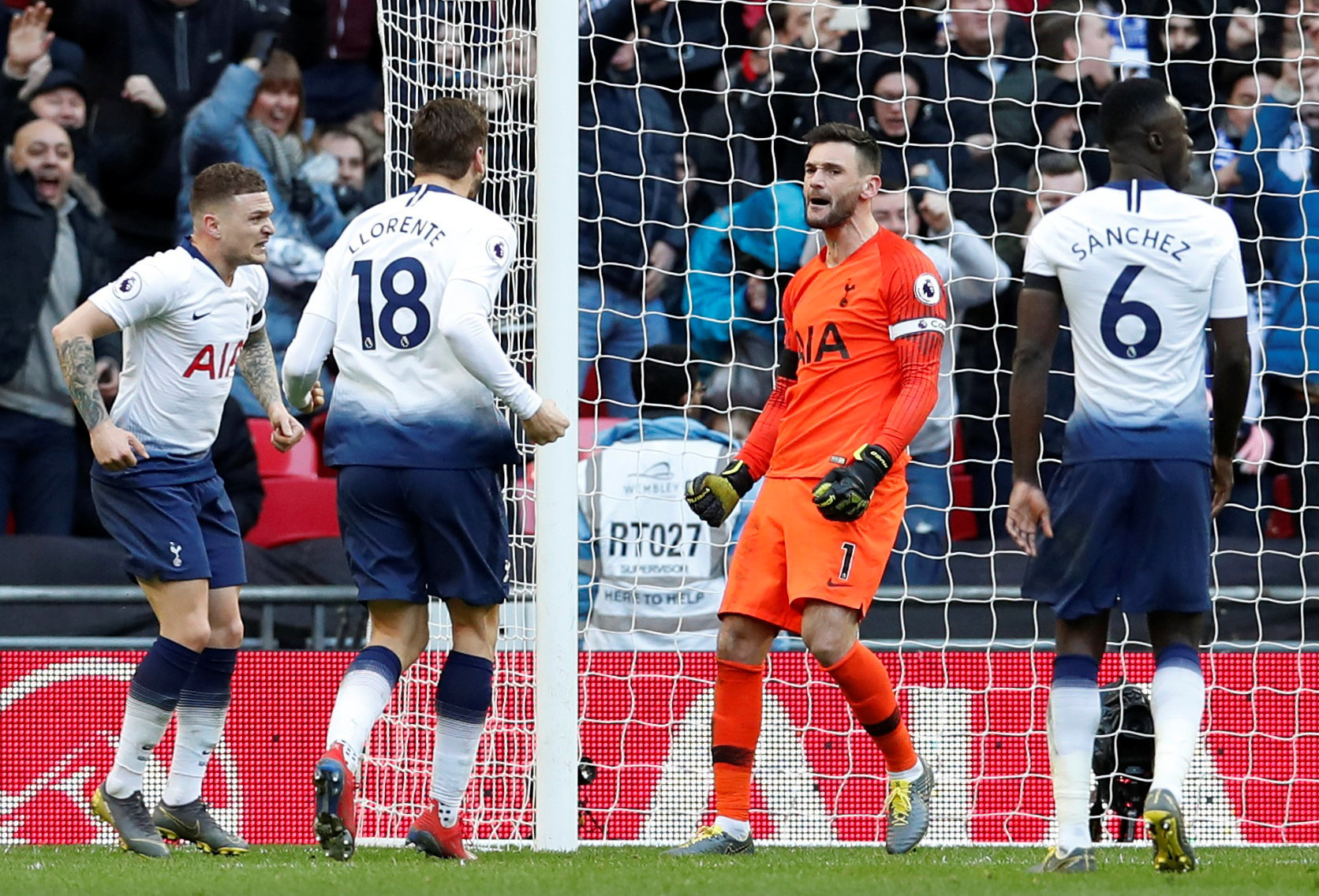 Hugo Lloris celebrates saving Jamie Vardy's penalty yesterday. Picture: Action Images