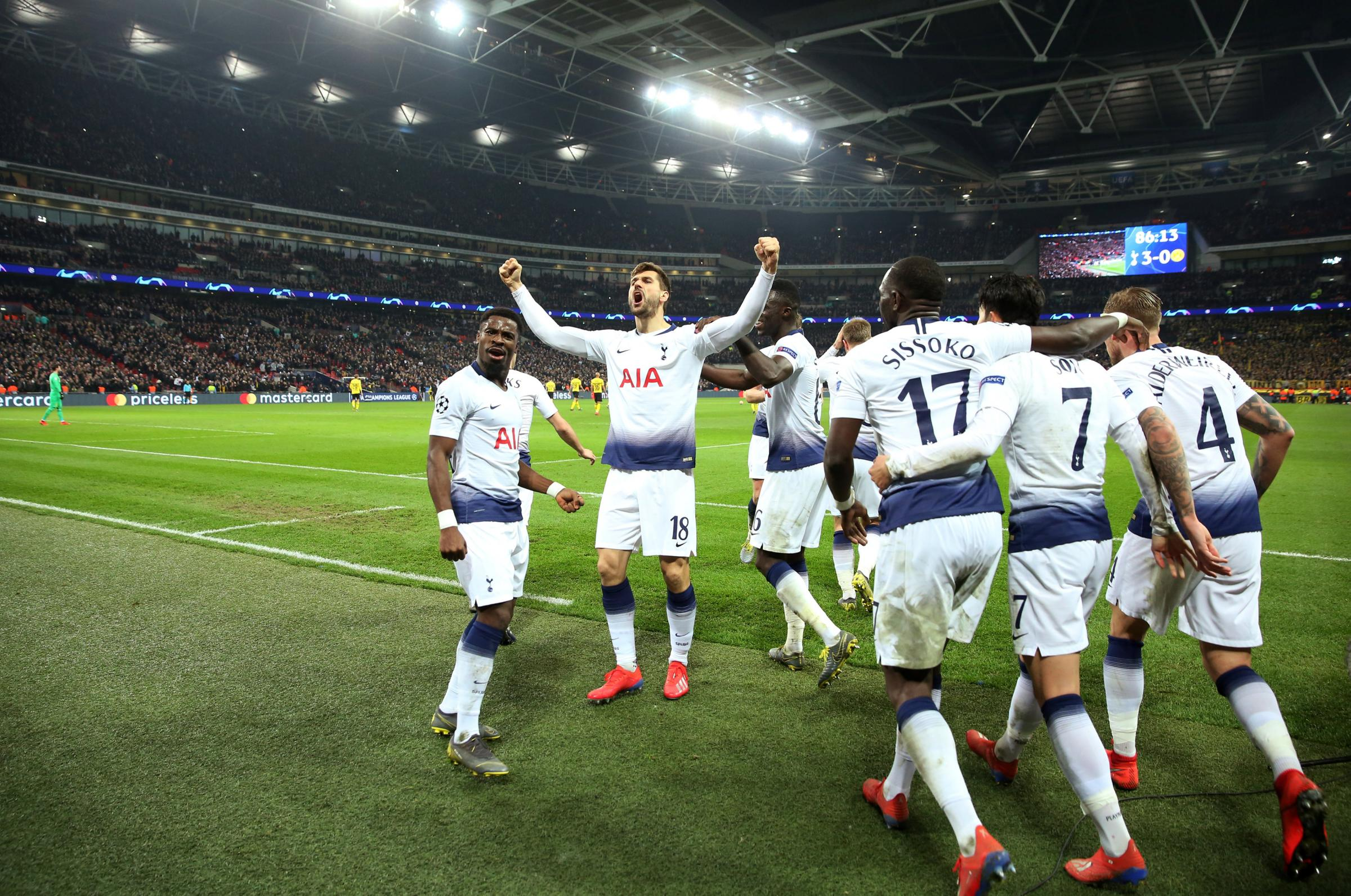 A special night: Fernando Llorente celebrates scoring Spurs' third goal. Picture: Action Images