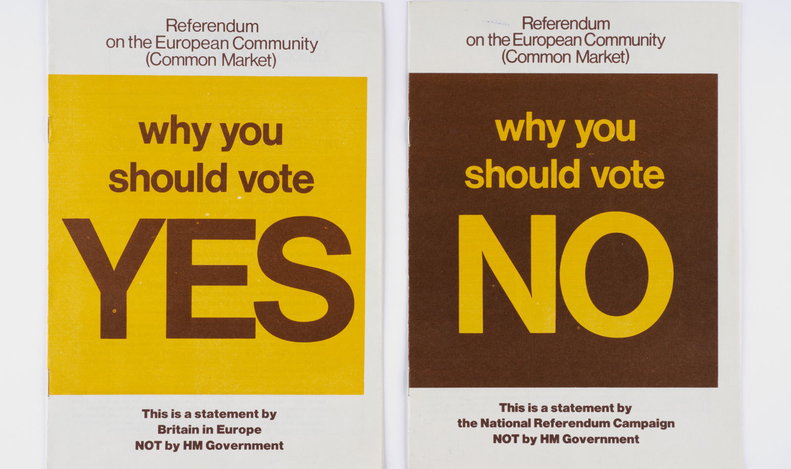 Vote-yes-or-no referendum leaflets from 1975 (Museum of London)