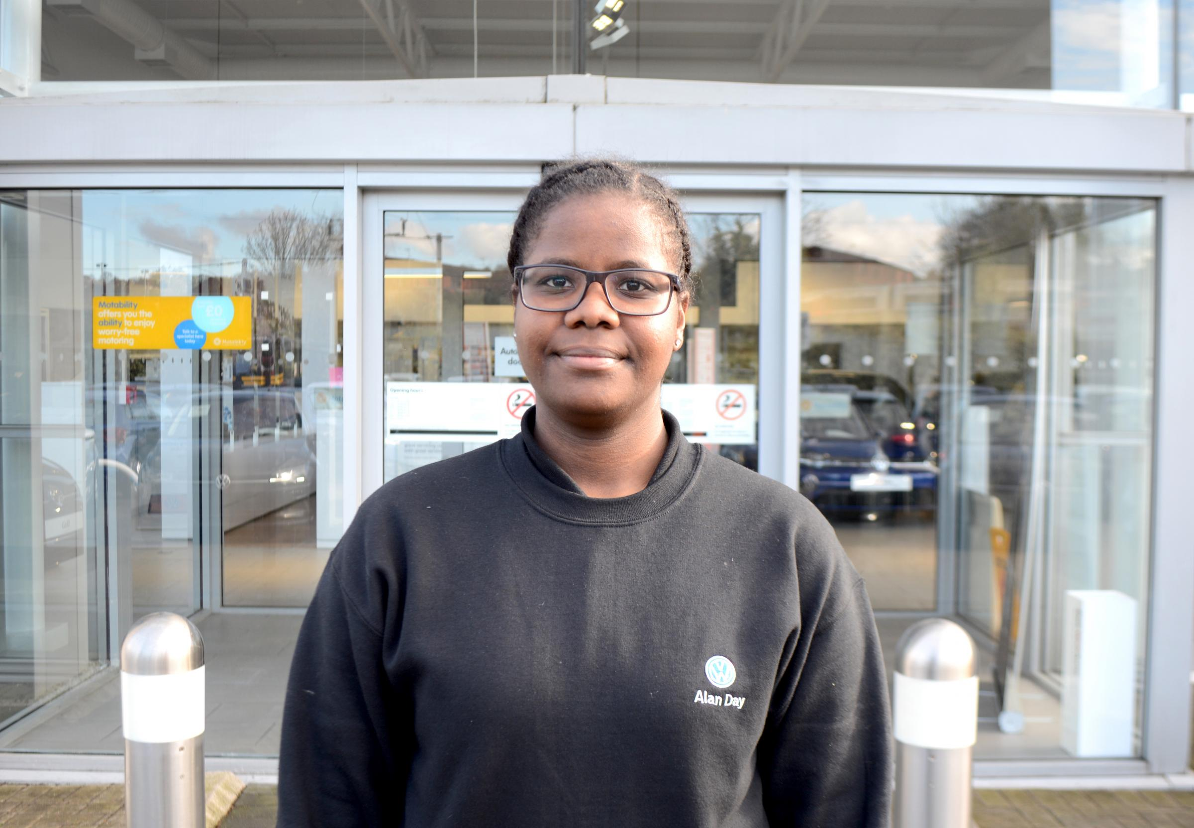 Britney Fingall, who commutes 2 hours every day from North London to Alan Day VW's showroom in Hampstead