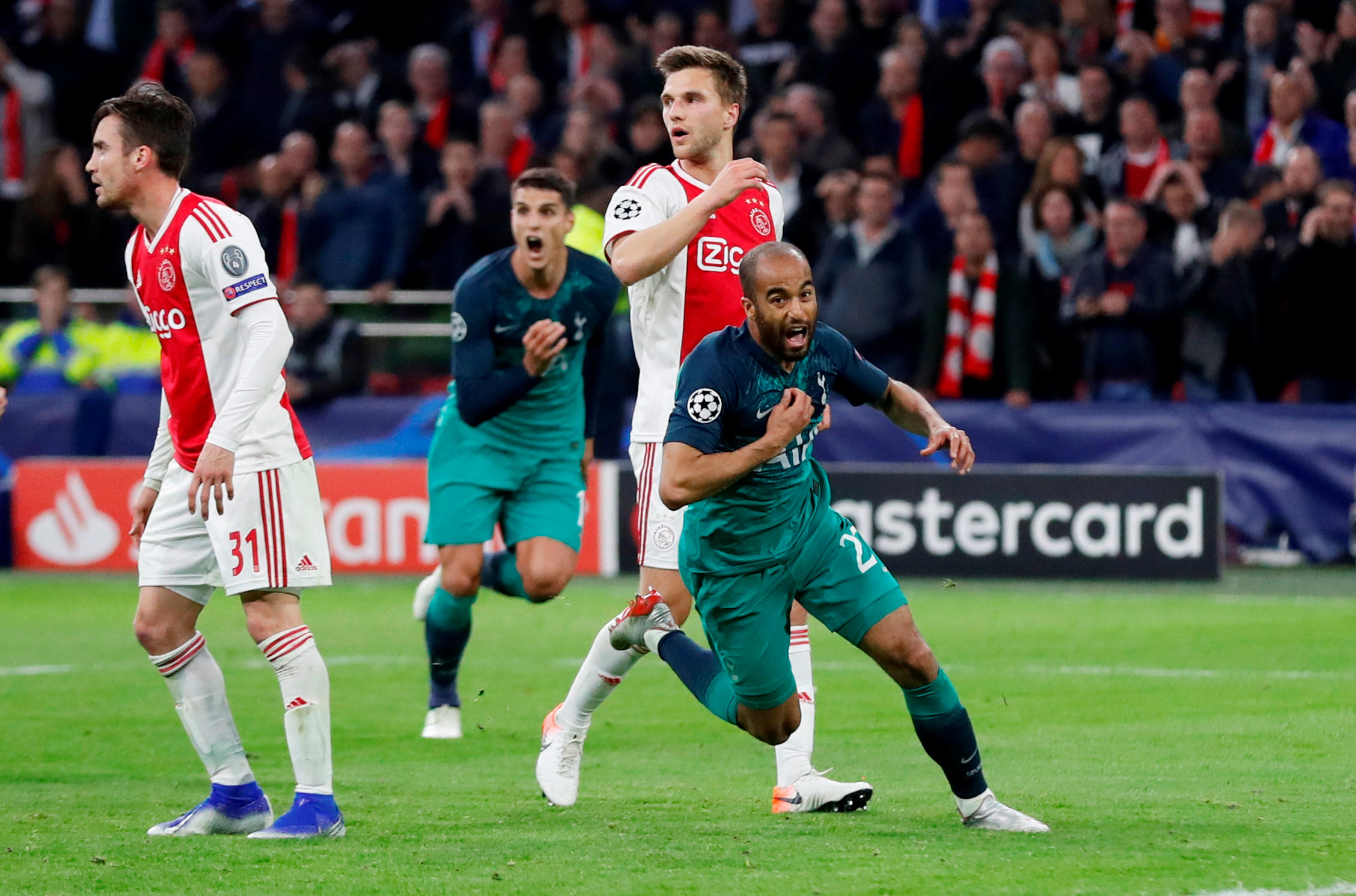 A miraculous turnaround is completed: Lucas Moura celebrates his incredible hat-trick. Picture: Action Images