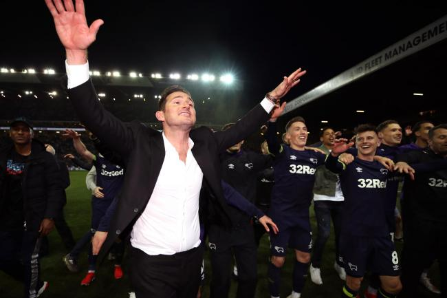 Derby manager Frank Lampard will be hoping to celebrate a play-off final victory over Aston Villa